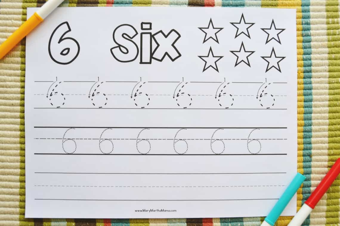 Number 6 Tracing Worksheet with markers