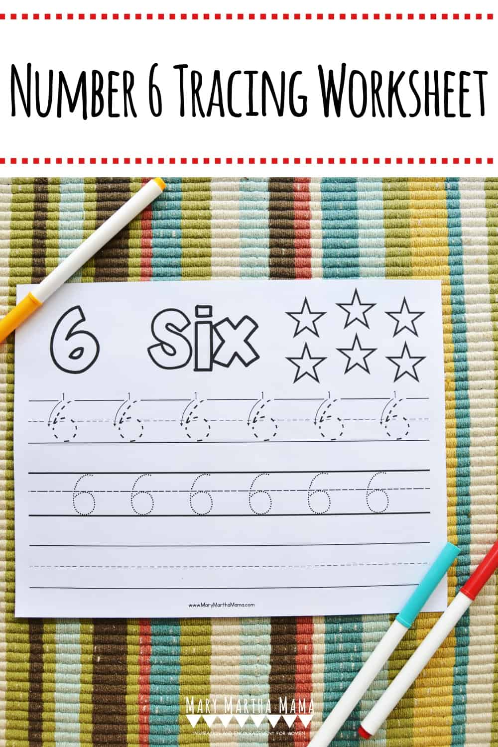 Use this free printable Number 6 Tracing Worksheet to help your kiddo learn how to write number 6.  Features tracing with and without arrows to guide.