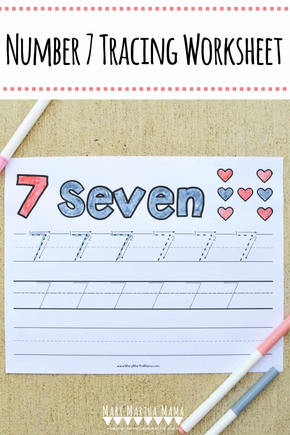 Use this free printable Number 7 Tracing Worksheet to help your kiddo learn how to write number 7. Features tracing with and without arrows to guide.