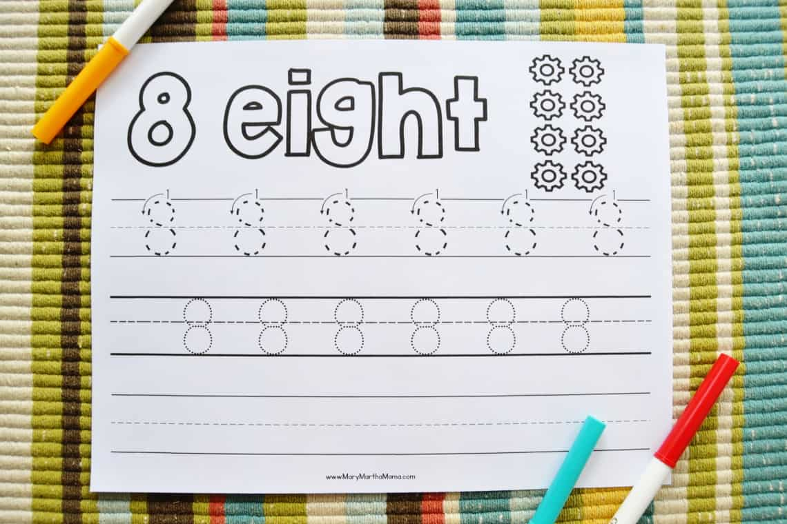 Number 8 worksheet with markers