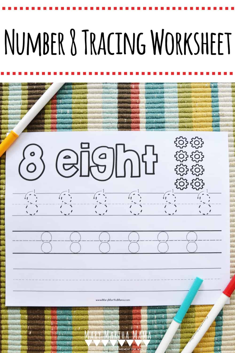 Use this free printable Number 8 Tracing Worksheet to help your kiddo learn how to write number 8. Features tracing with and without arrows to guide.