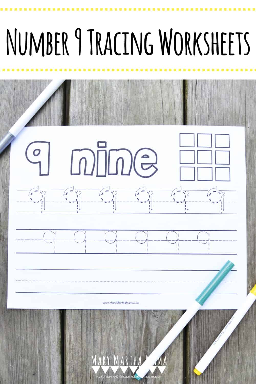 Use this free printable Number 9 Tracing Worksheet to help your kiddo learn how to write number 9.  Features tracing with and without arrows to guide.