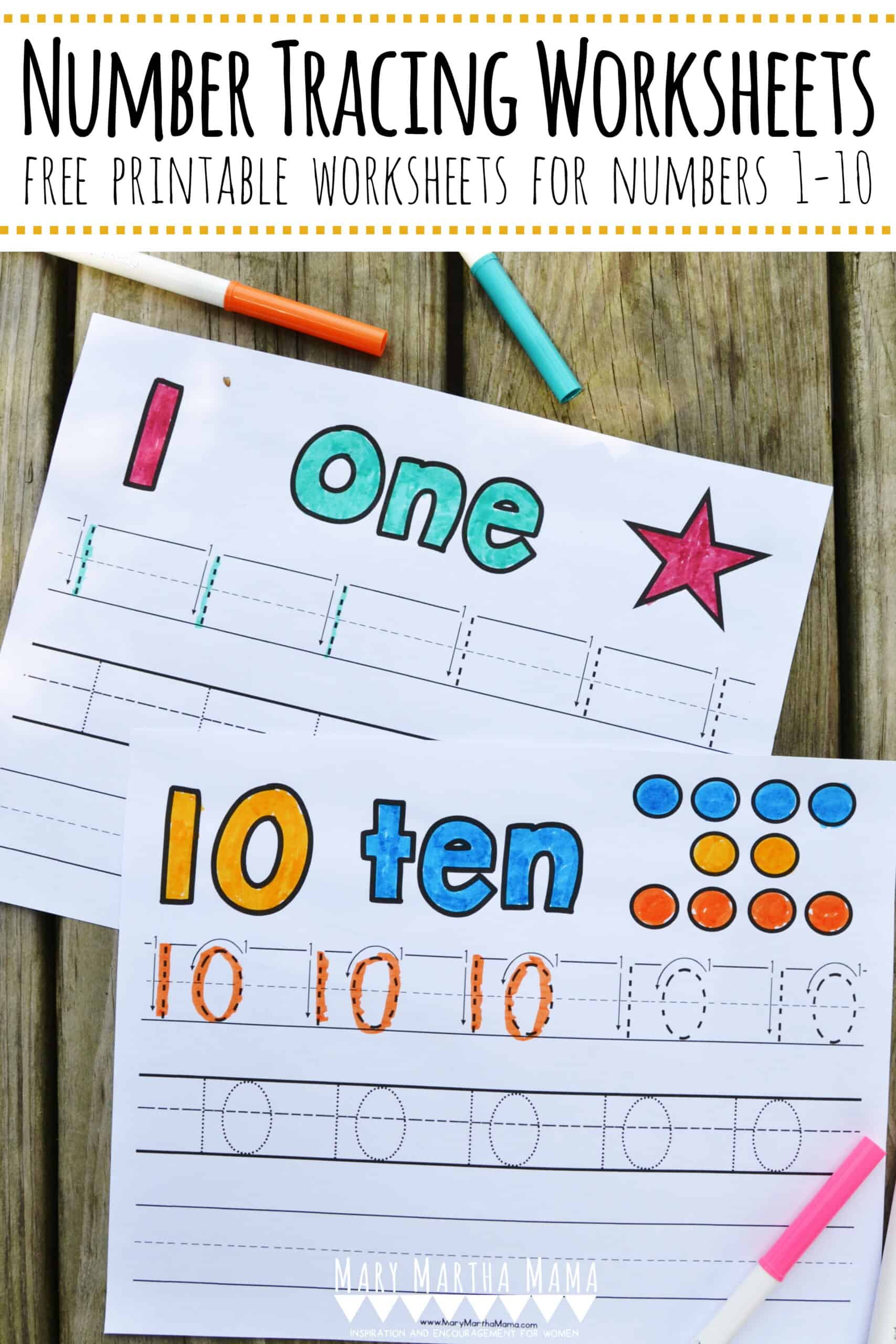 Use these free printable Number Tracing Worksheets 1-10 to help your child learn how to write numbers. Each sheet features tracing and writing practice.
