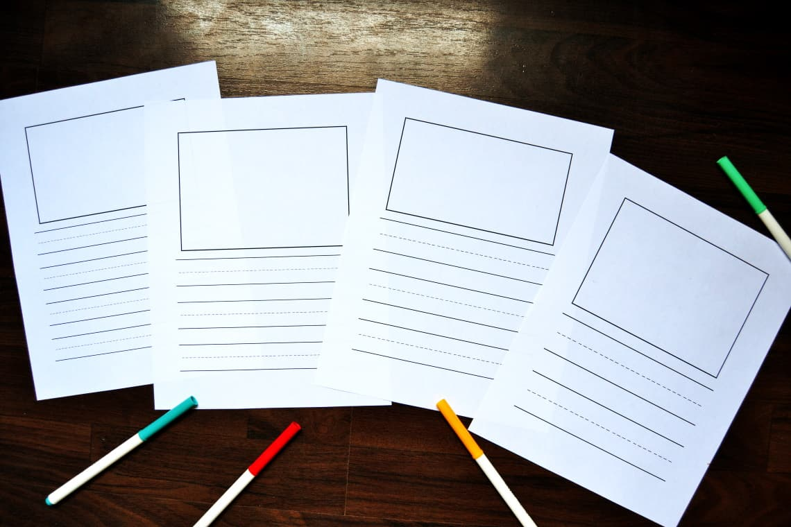 blank handwriting pages- vertical with picture space