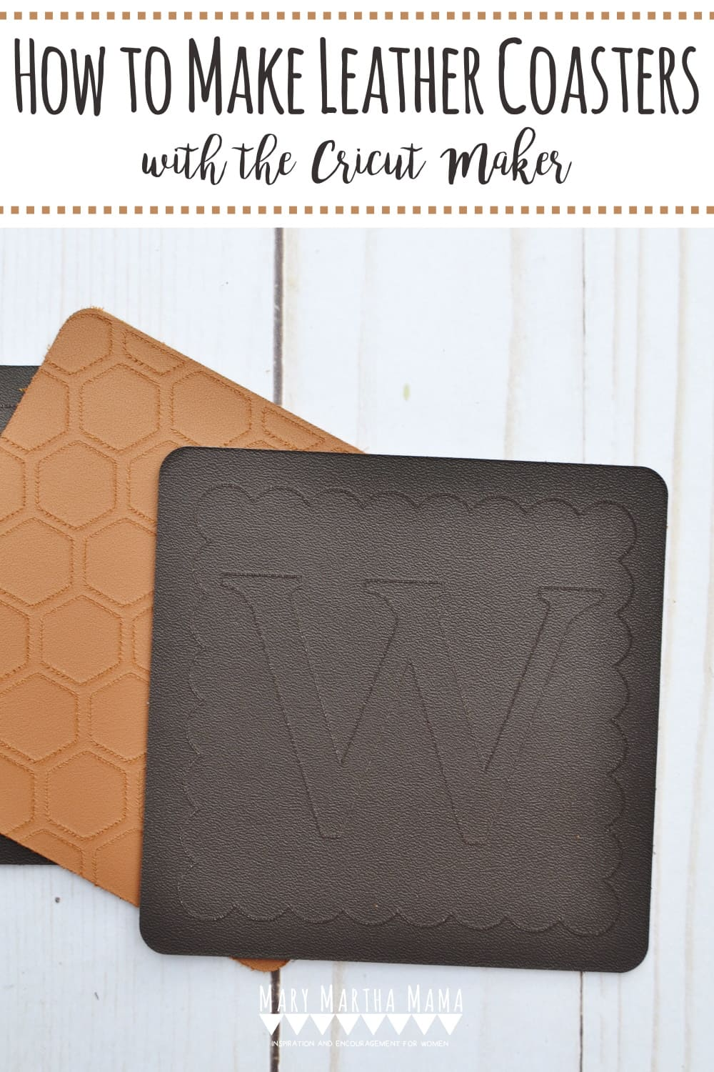Learn how to make leather coasters with the Cricut Maker. In this tutorial I show how to make a design in Design Space and create personalized coasters.