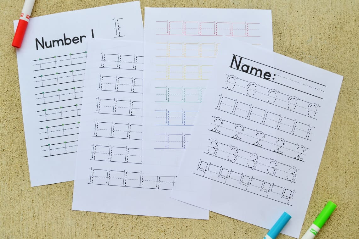 The variety of Number Tracing Worksheets 1-10 in the Number Bundle