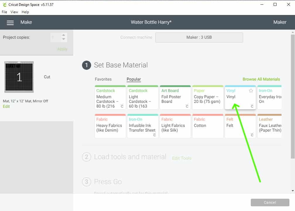 screenshot of Design Space showing how to select the material