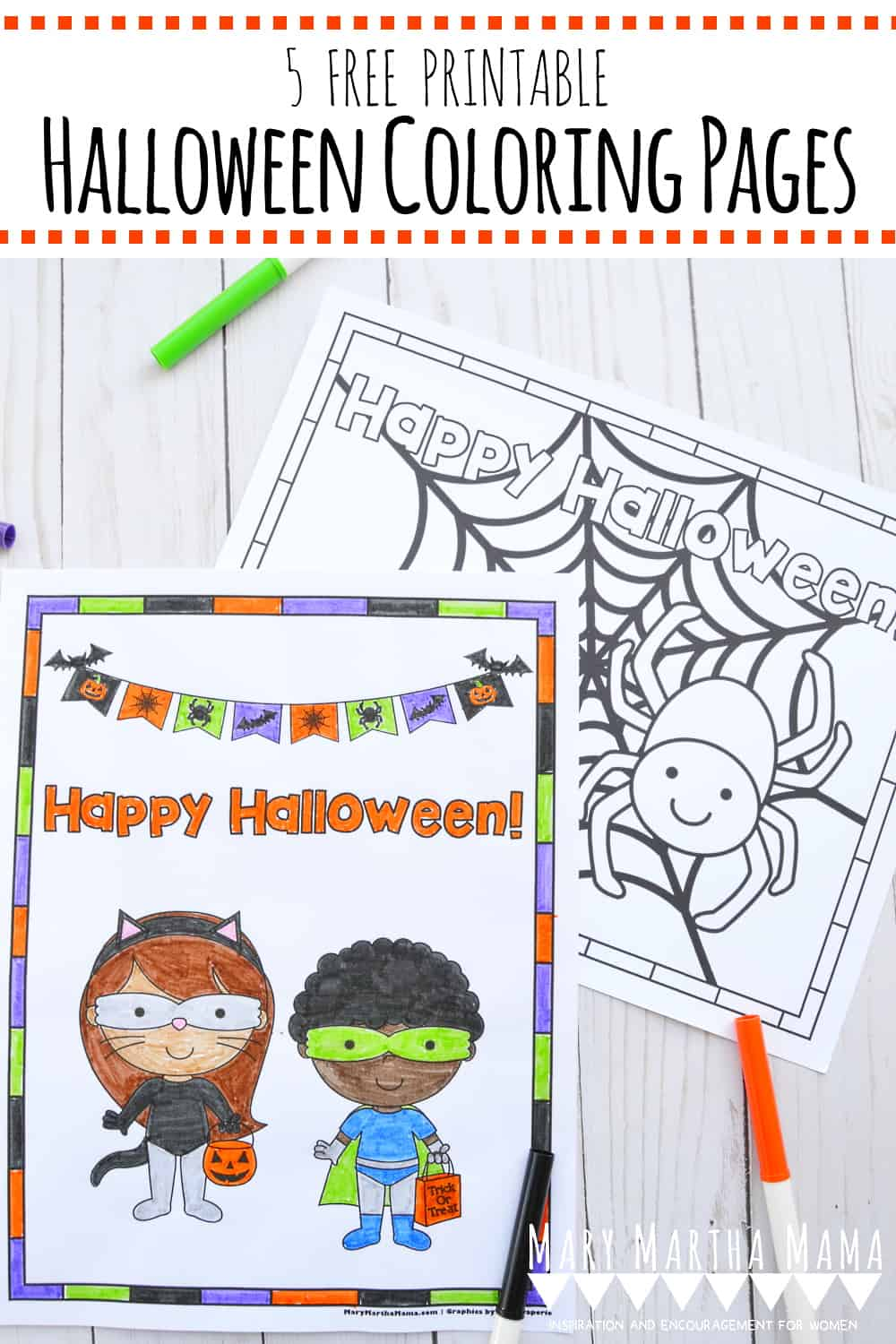 Have a little Halloween fun with these 5 free printable Halloween coloring pages.  They feature trick or treaters, spiders, and jack-o'-lanterns.