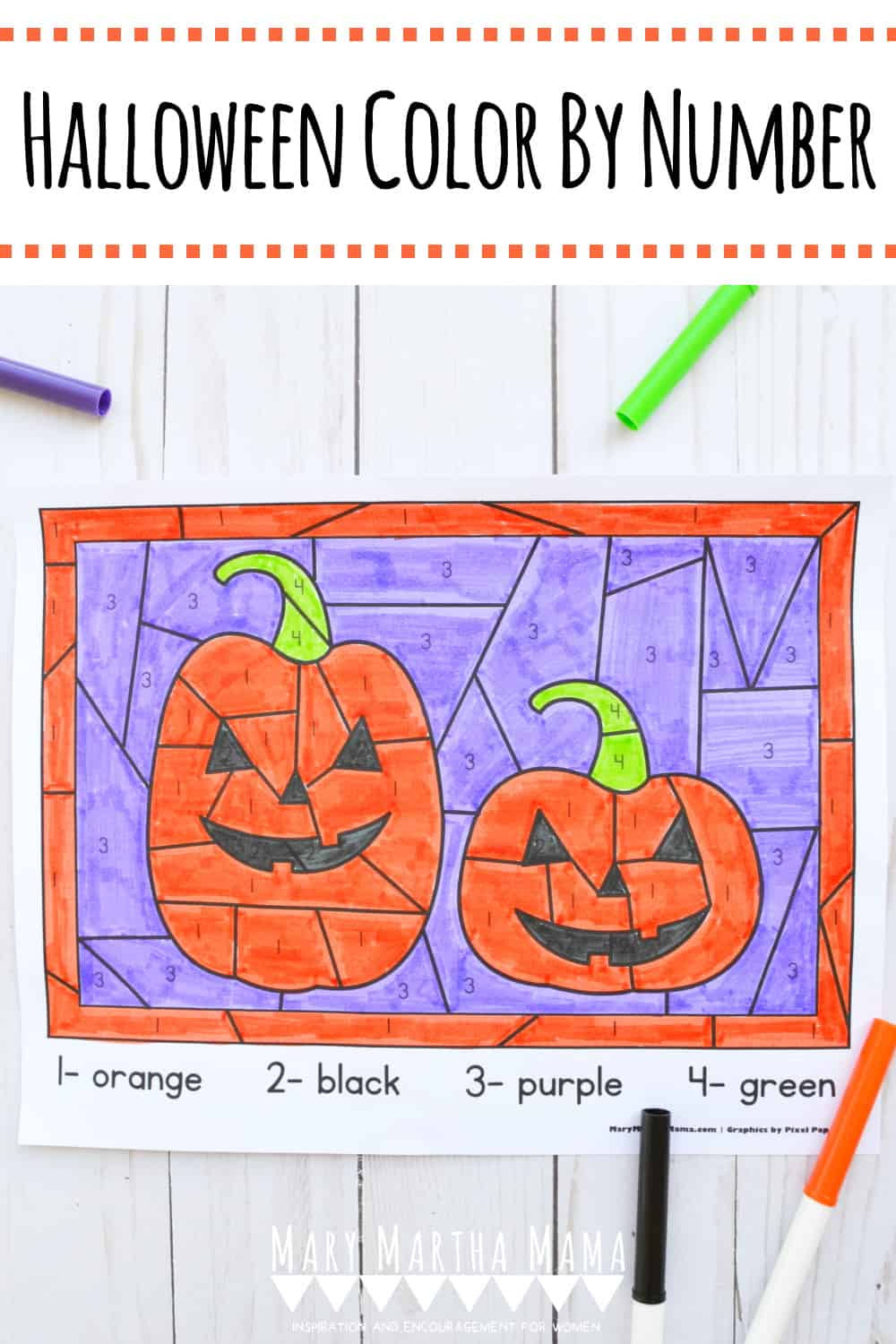 Your kids will love this free printable Halloween Color By Number pdf featuring cute little smiling jack o'lantern pumpkins.