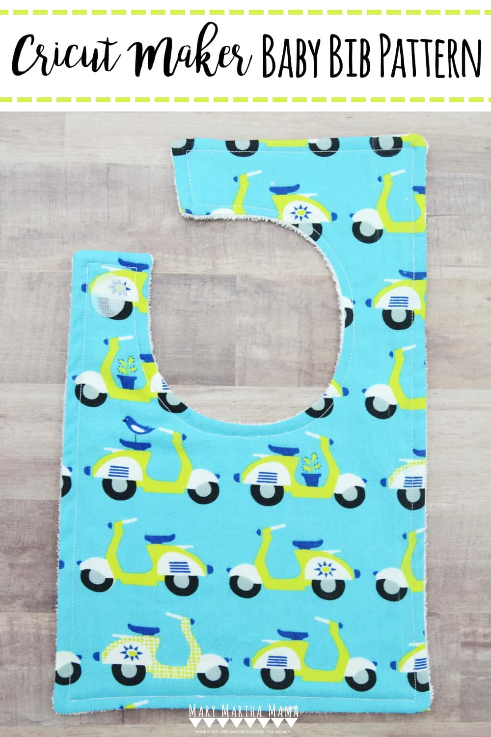 Use this baby bib pattern for the Cricut Maker to easily cut out fabric to make baby bibs in no time at all!  Includes full tutorial with pictures.