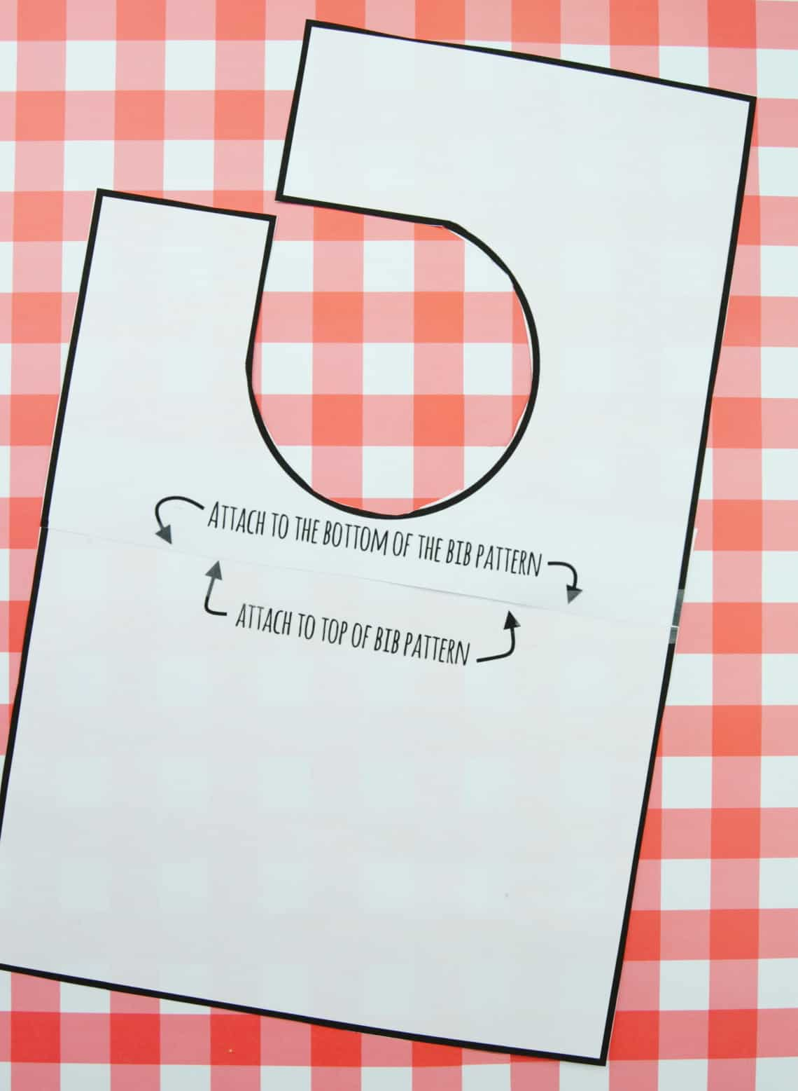 Pattern for a Baby Bib with Square Corners printed out and taped together