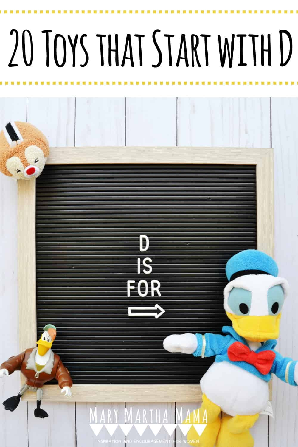 If you have a kiddo with a letter of the week based show and tell then you need to check out this list of 20 toys that start with D.