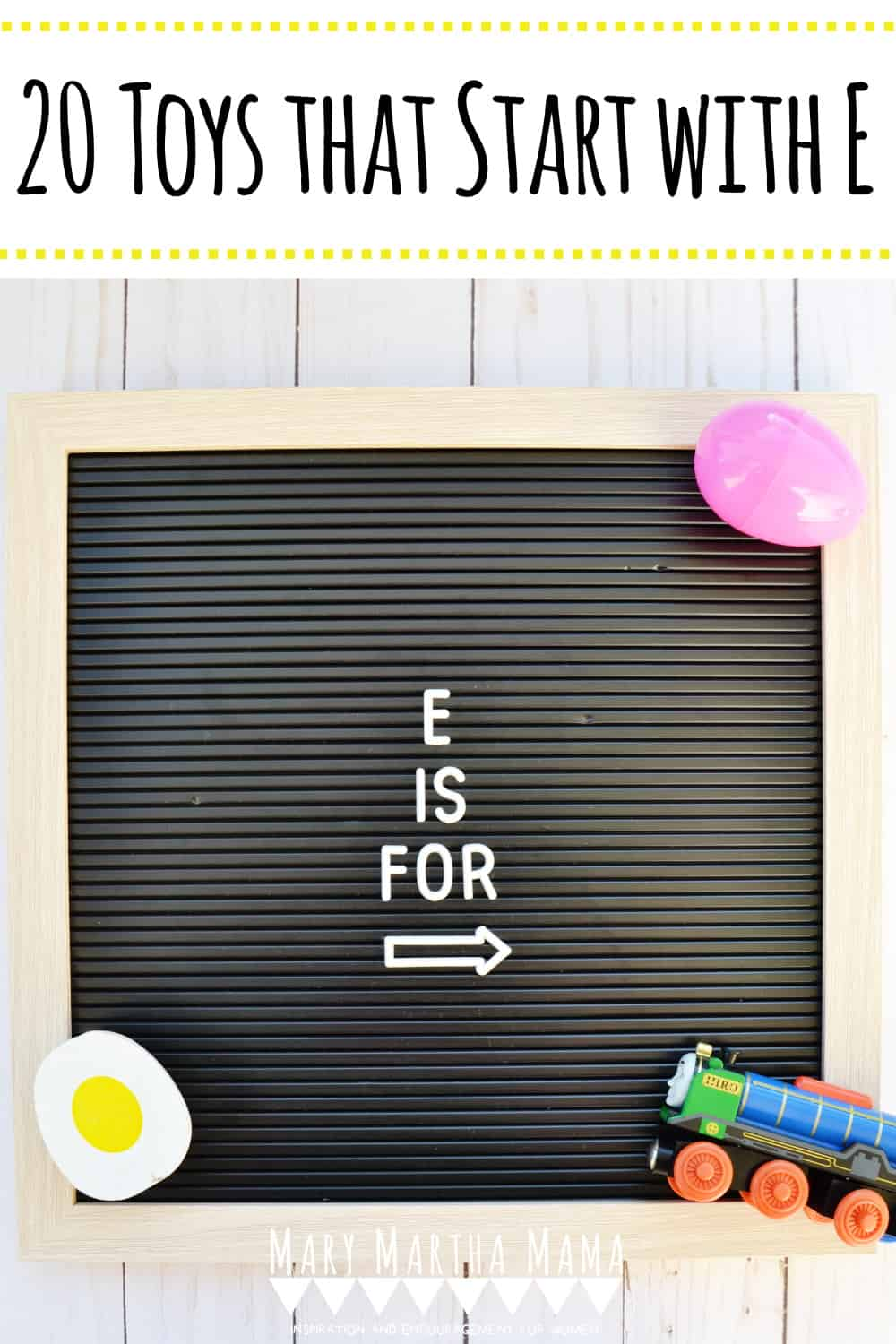 Does your kiddo have a letter of the week show and tell? You need to check out this list of 20 ideas for toys that start with E.