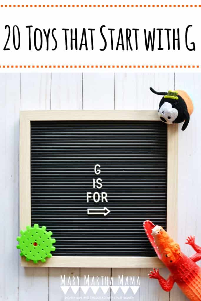 Does your kiddo have a letter of the week show and tell?  You need to check out this list of 20 ideas for toys that start with G.