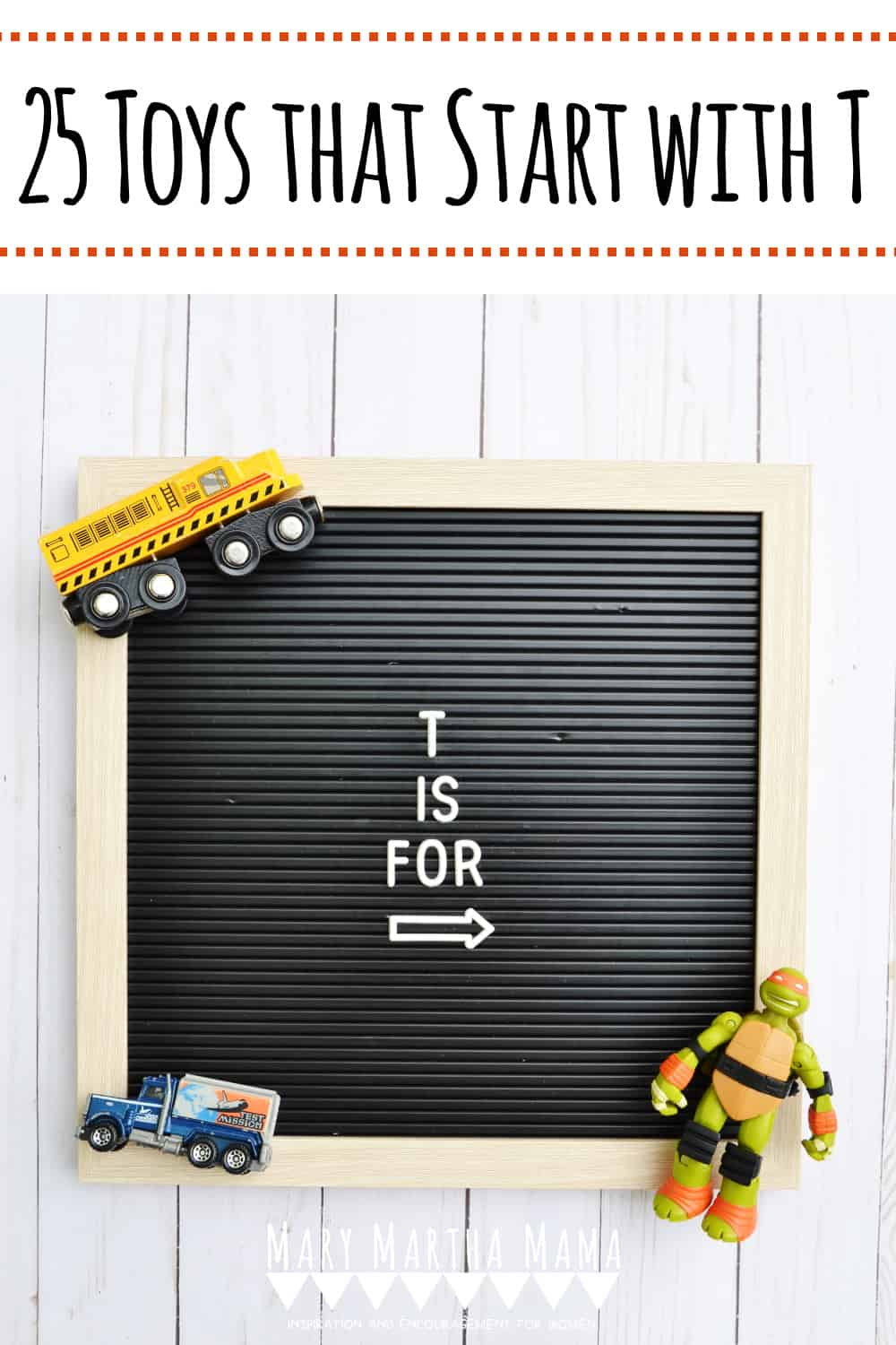 Have a kiddo with a letter of the week show and tell assignment?  You need to check out this list of 25 Toys that Start with T.