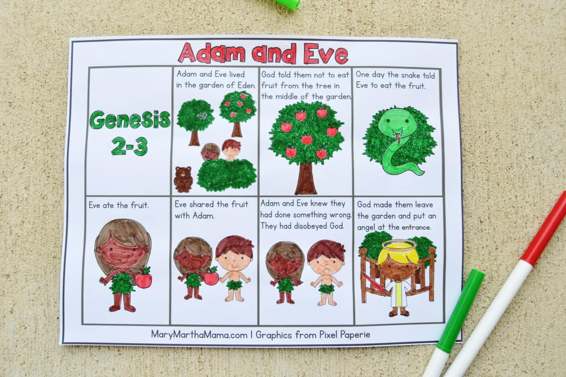 free printable Adam and Eve coloring page