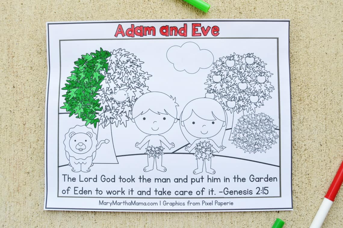 Adam and Eve coloring page partly colored in
