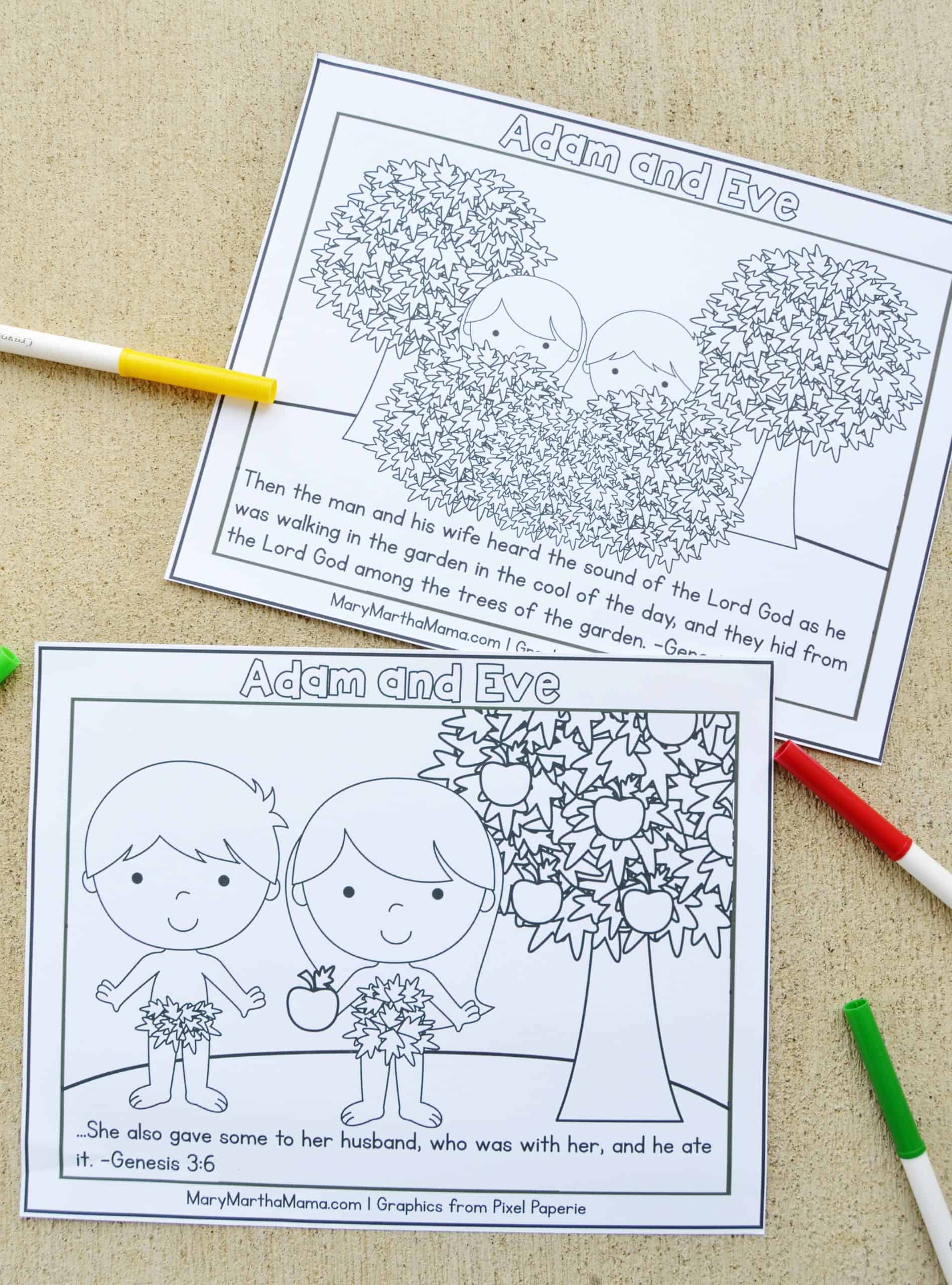 free printable Adam and Eve Coloring Pages