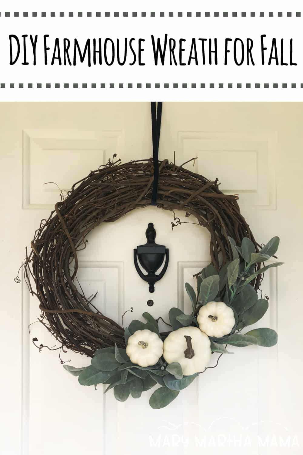 Looking for some fresh, neutral fall decor for your door?  Follow the tutorial to make this easy DIY Farmhouse Wreath for Fall.