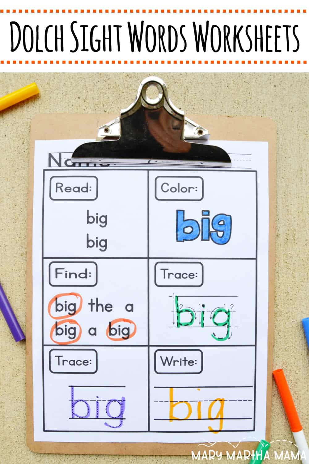 Looking for some preK sight words worksheets? These printables will help your child or students to practice with sight words from the Dolch PreK list.