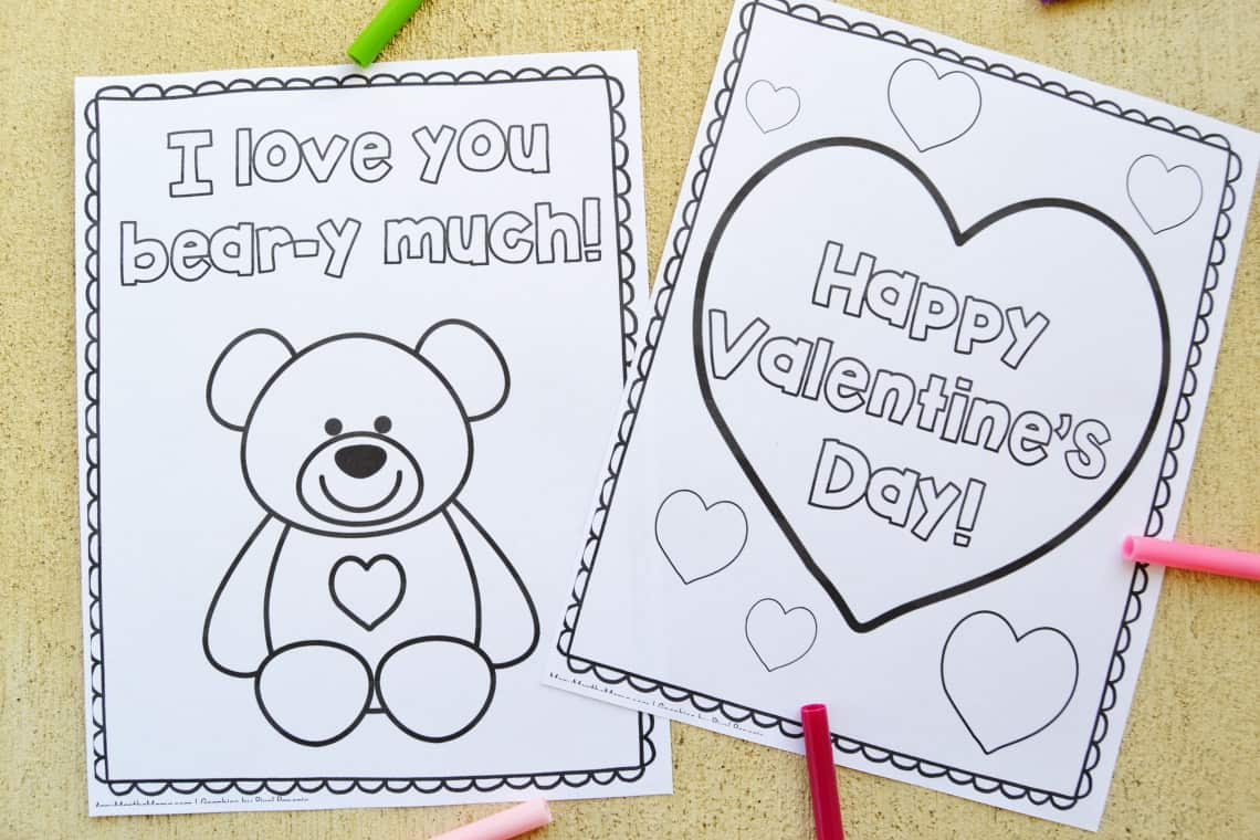 classic hearts and bear coloring sheets