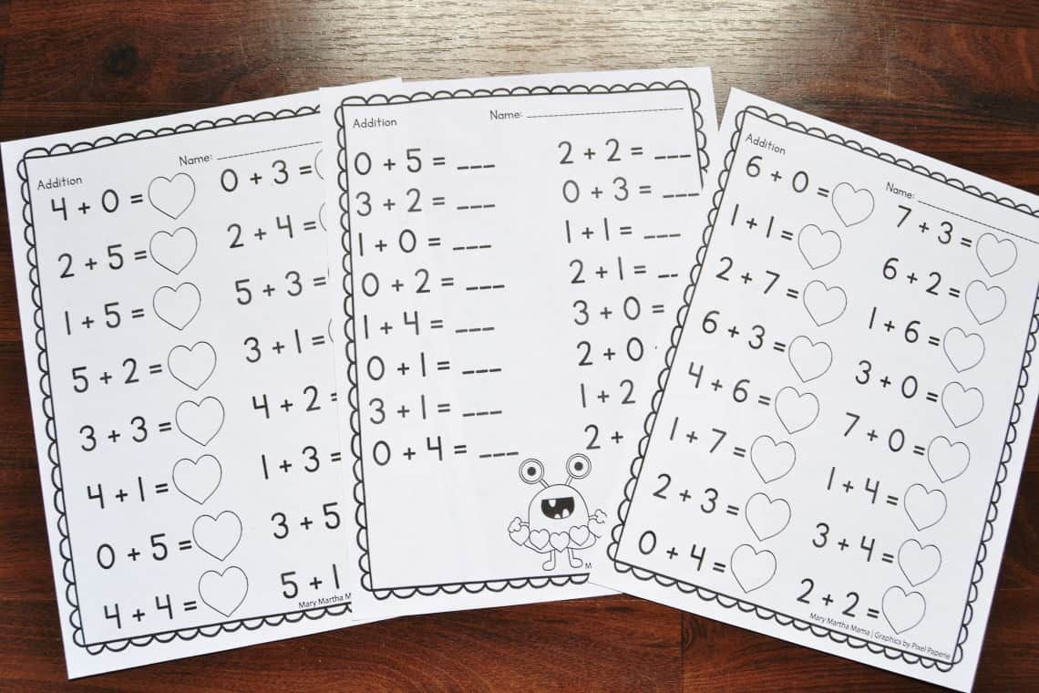 Valentine's Day Addition Worksheets