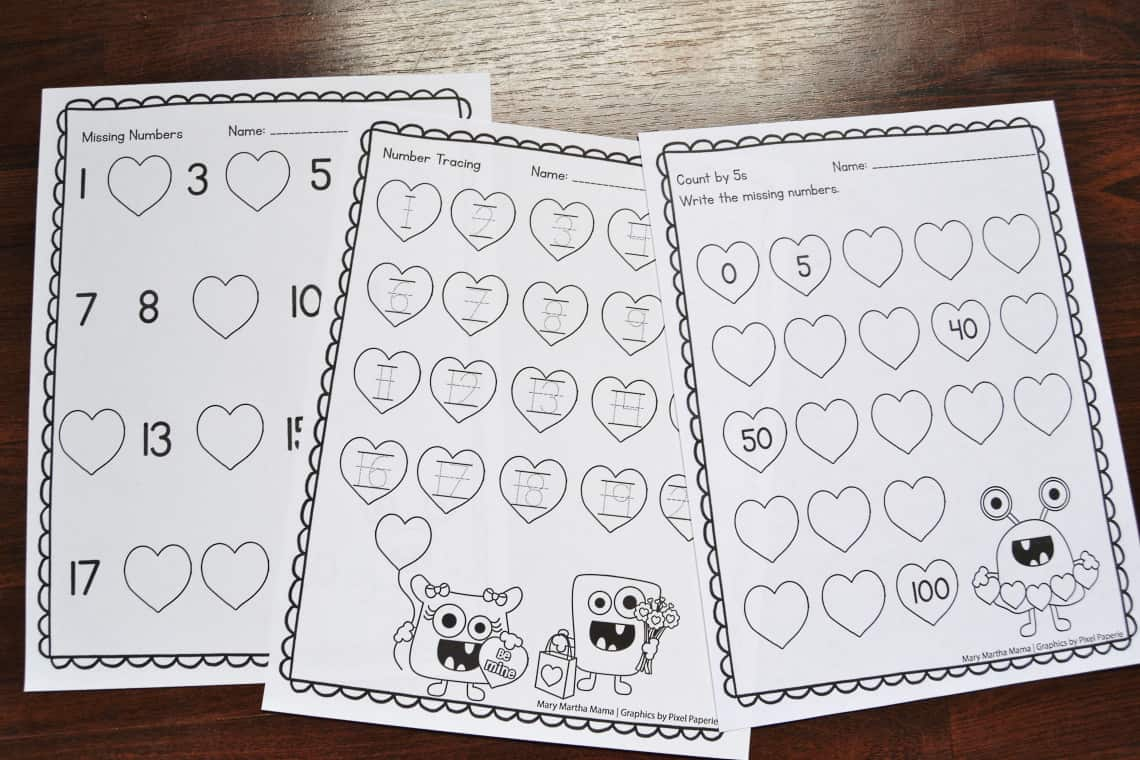 Valentine's Day Math Worksheets for Kindergarten