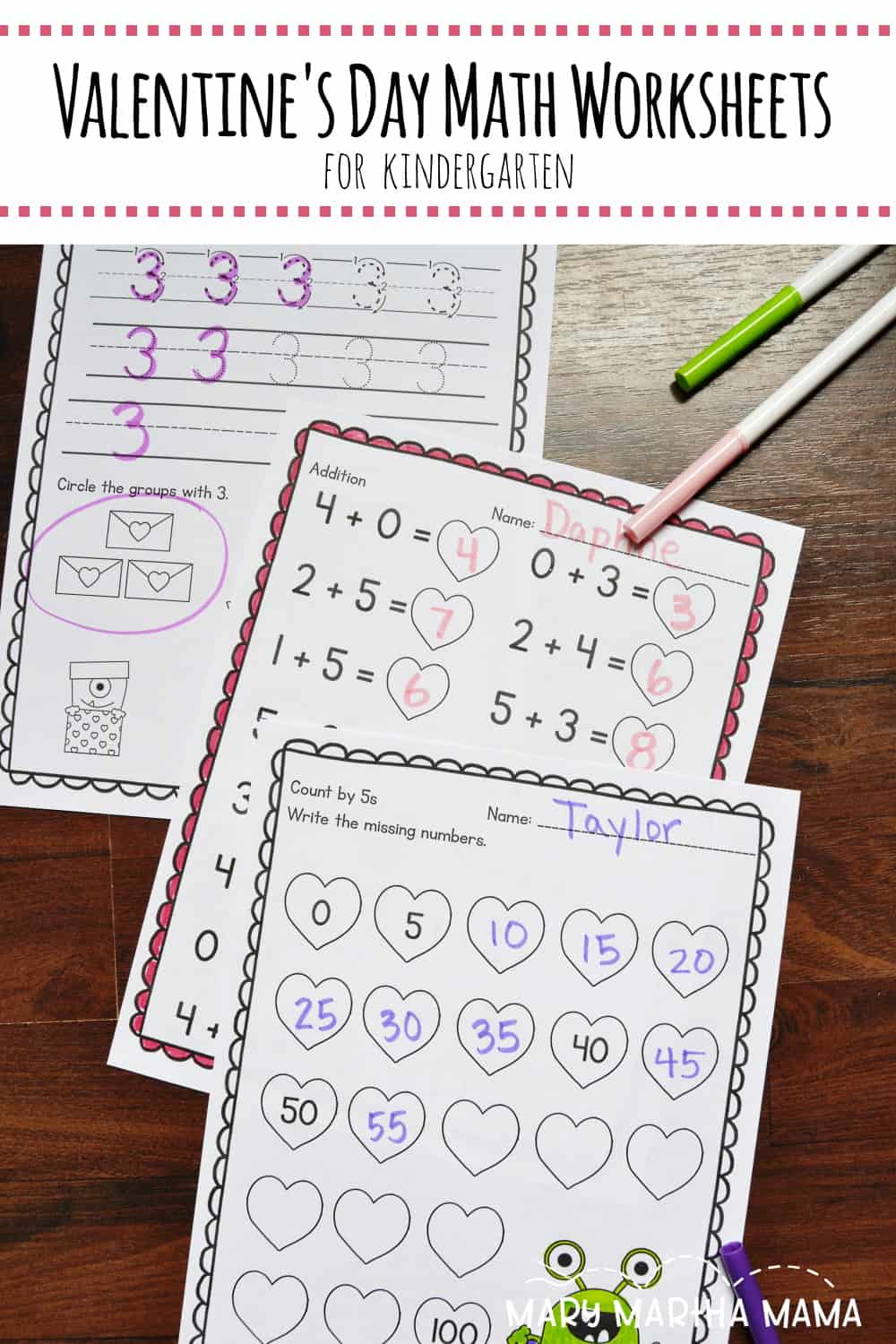 Use these 20 pages of Valentine's Day Math Worksheets for Kindergarten to help your students work on their math skills while having some fun.