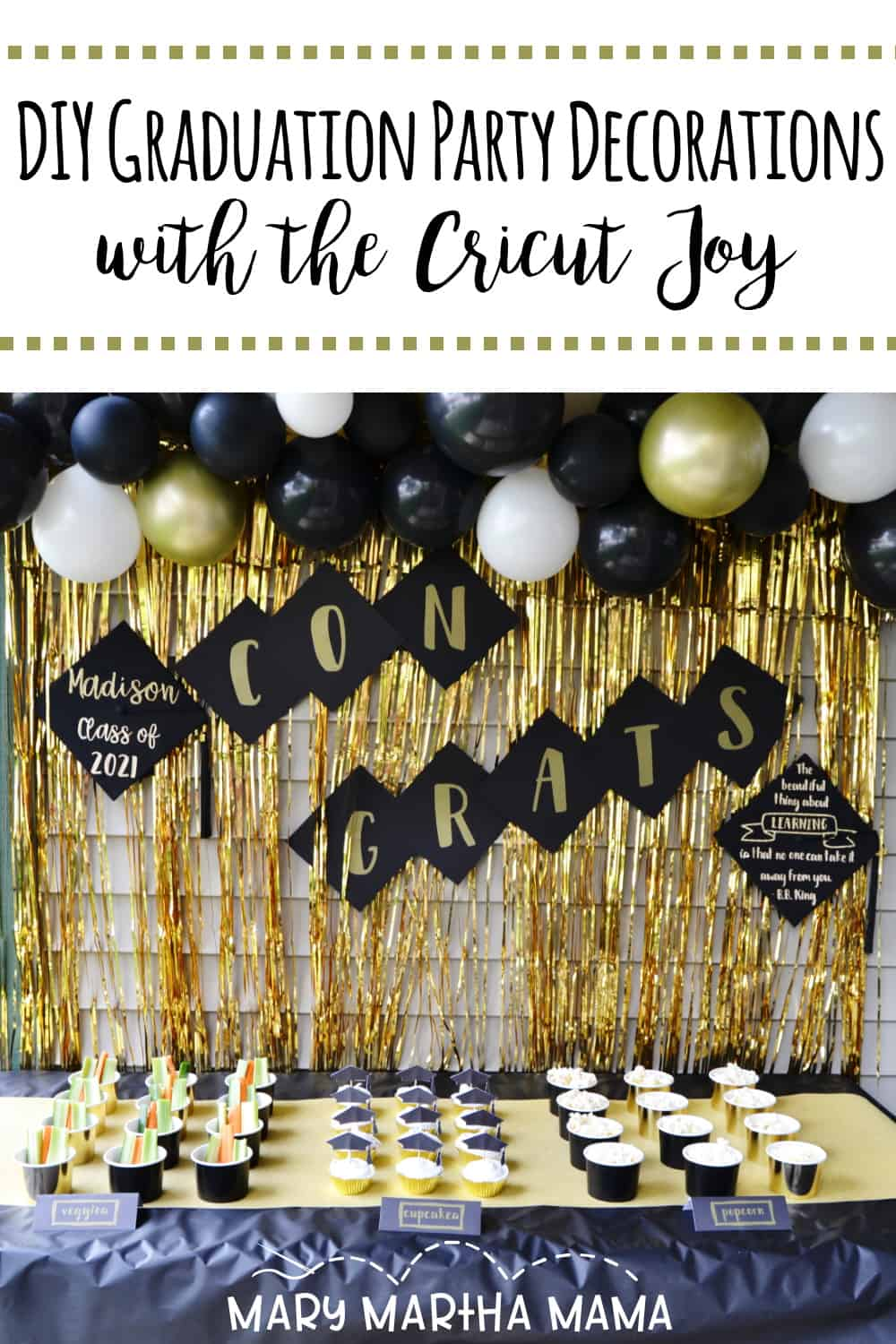 The Cricut Joy and Smart Materials make it so easy to make DIY graduation party decorations that are perfect for any graduation celebration.