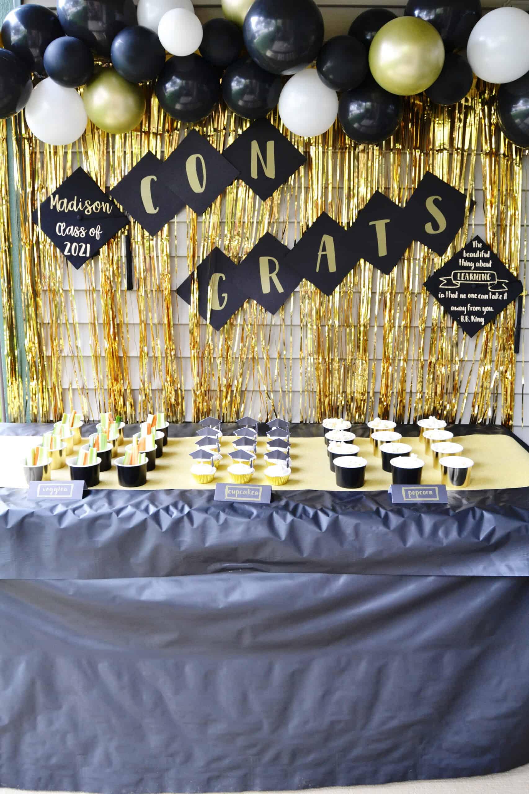 DIY Graduation Party Decorations made with the Cricut Joy including decorated graduation caps
