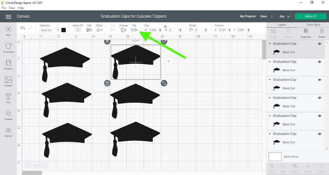 DIY Graduation Party Decorations- graduation cap image in Design Space