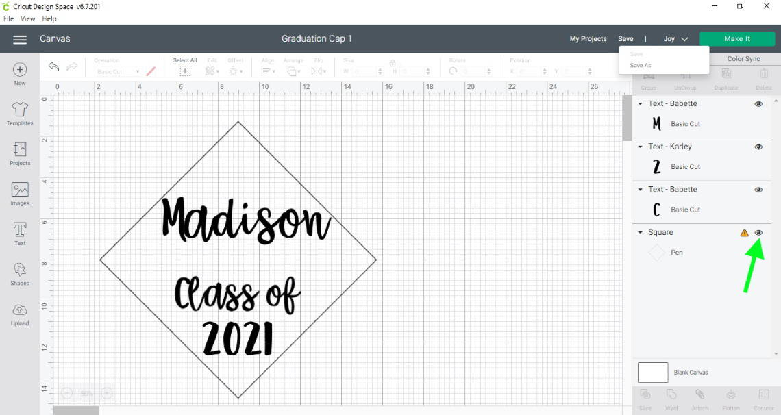 how to decorate a cap for graduation in design space hide the outline