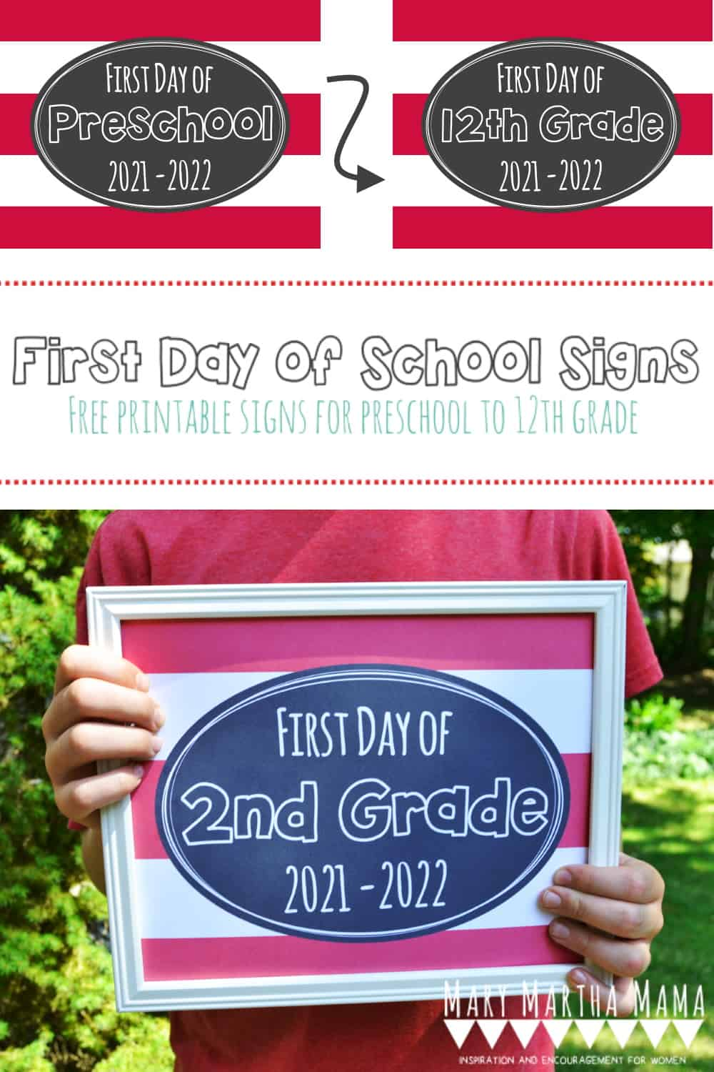 Grab these free printable first day of school signs for the 2021- 2022 school year & get some cute pictures of your kiddos on the first day.