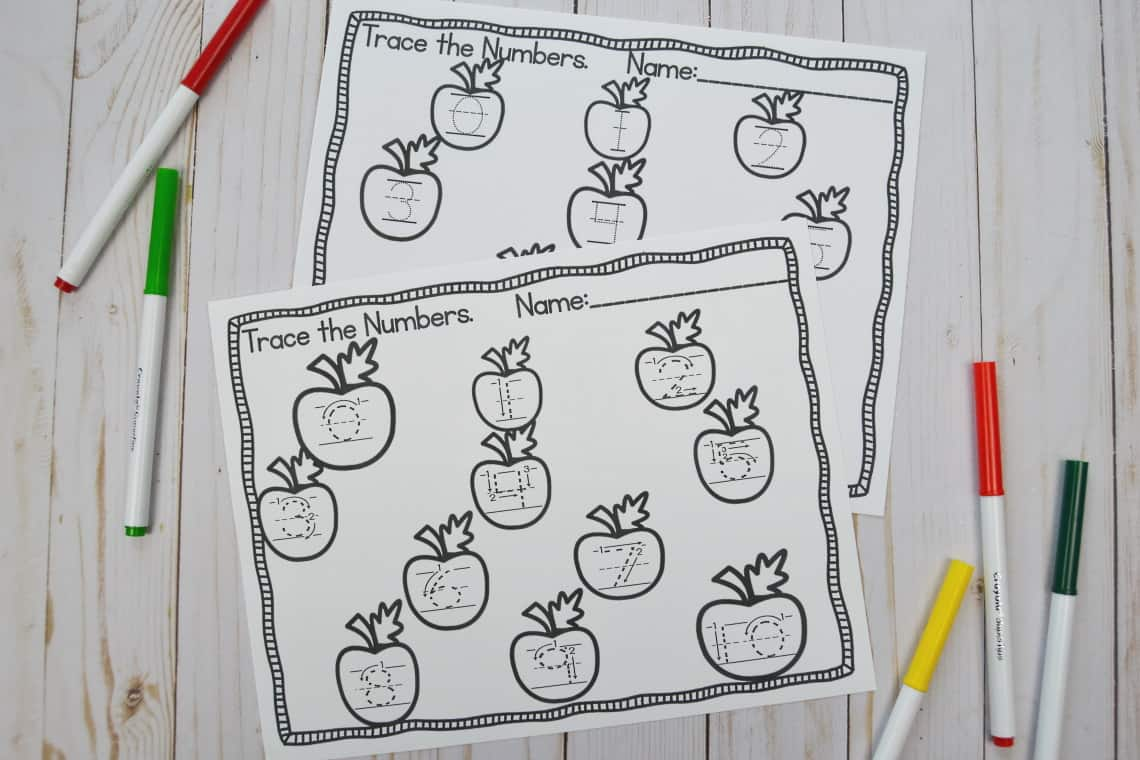 apple themed number tracing worksheets