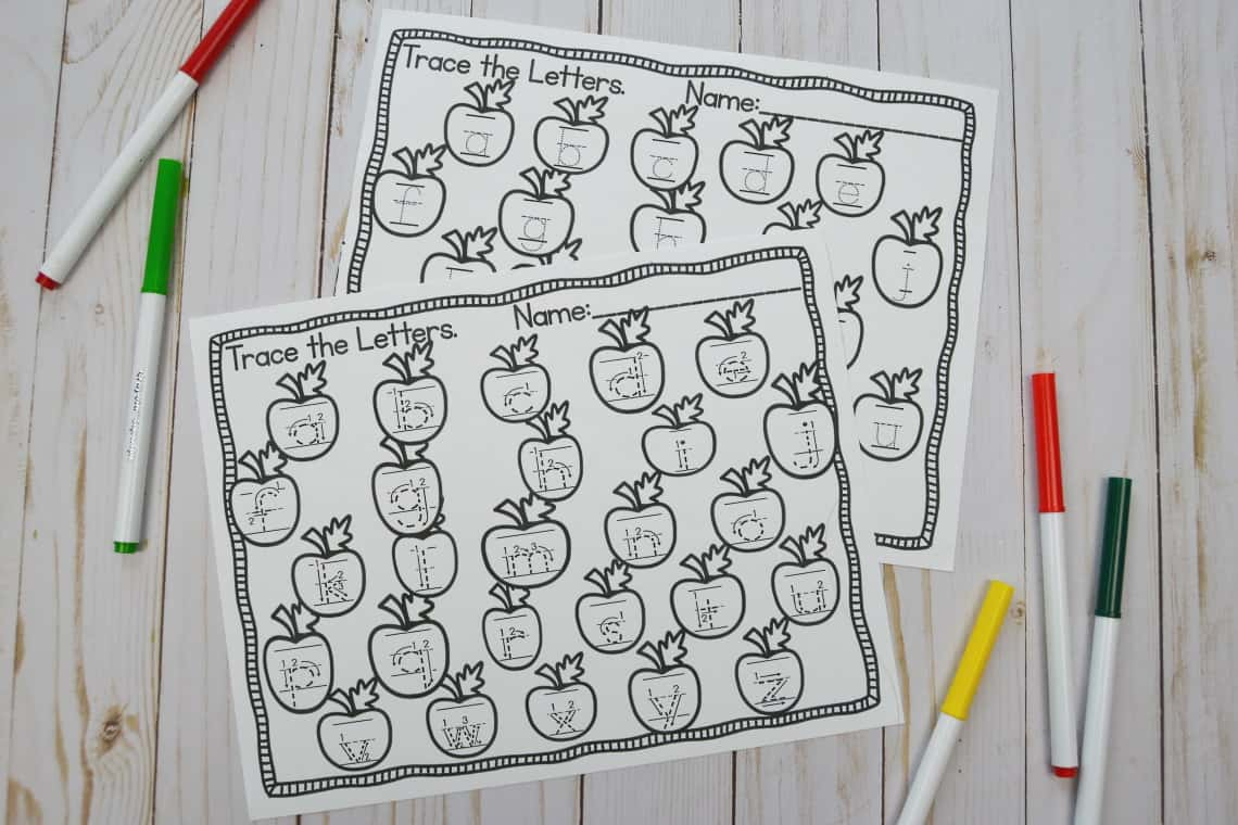 apple themed lower case tracing worksheets