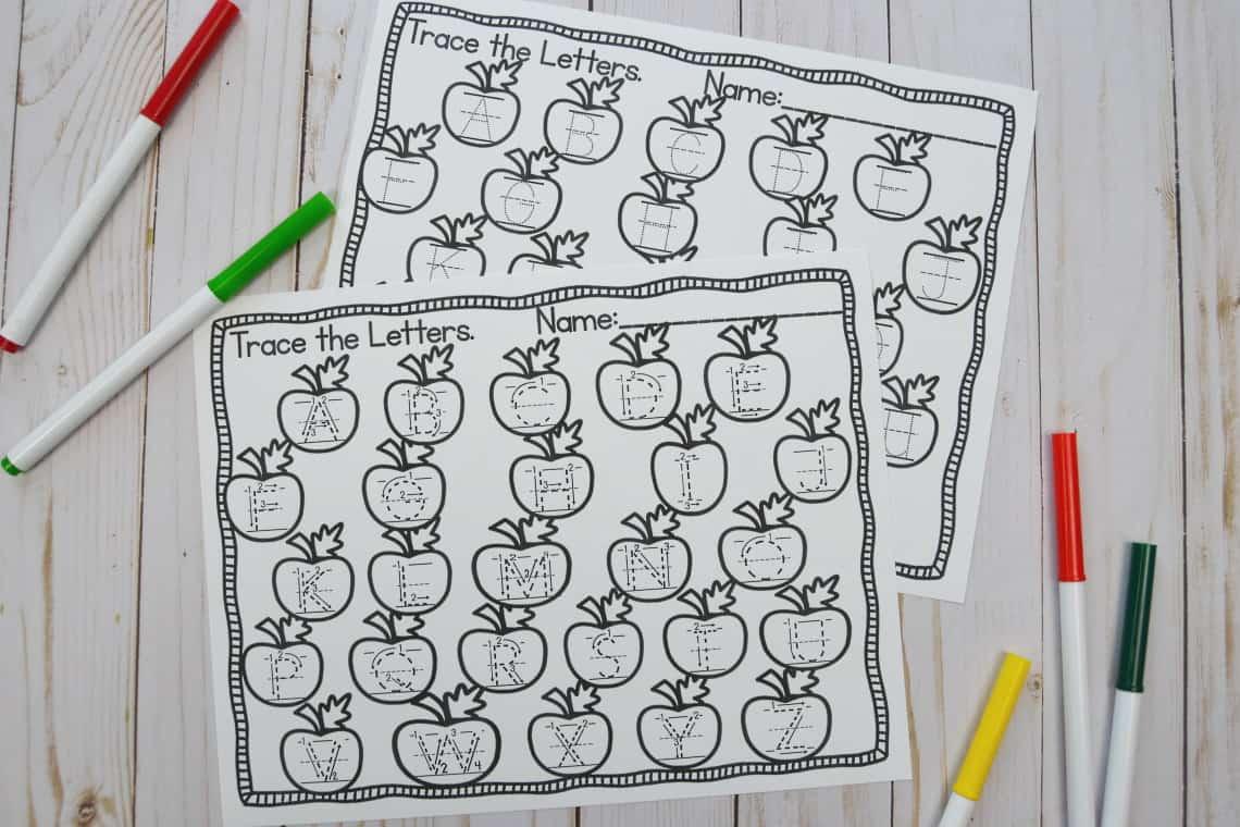 apple themed upper case letter tracing worksheets
