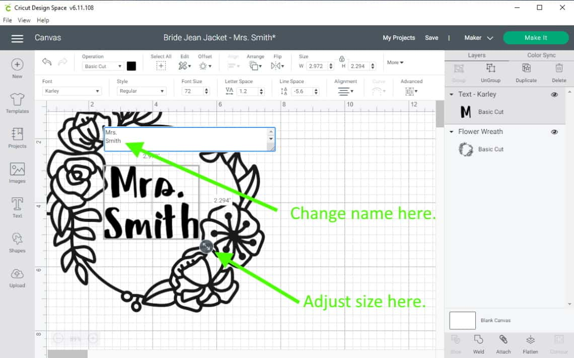 Design space screen showing how to change the name and size in the Mrs. file