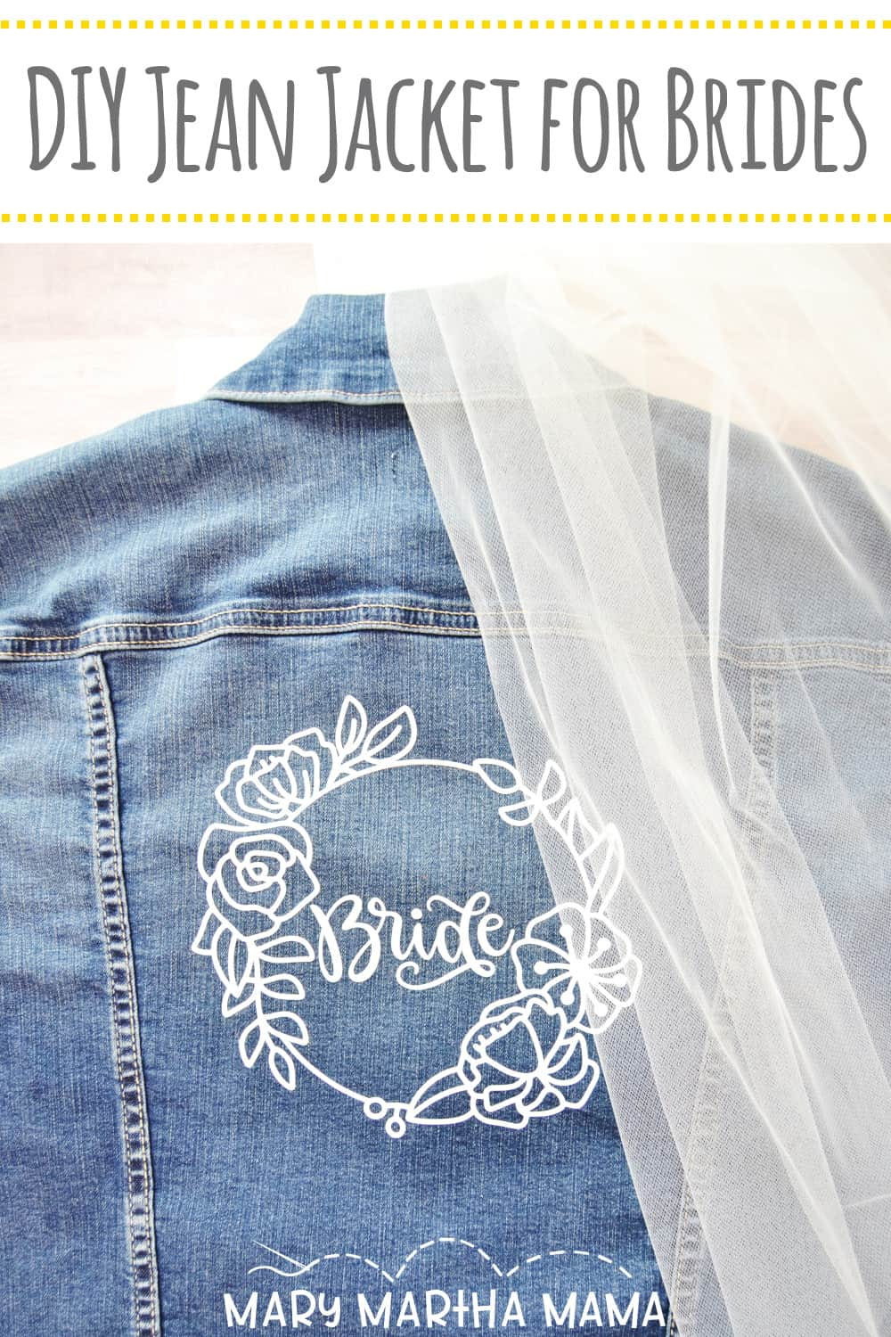 #AD Make your own personalized DIY wedding jean jacket for brides with this simple tutorial and your Cricut.  #cricutmade