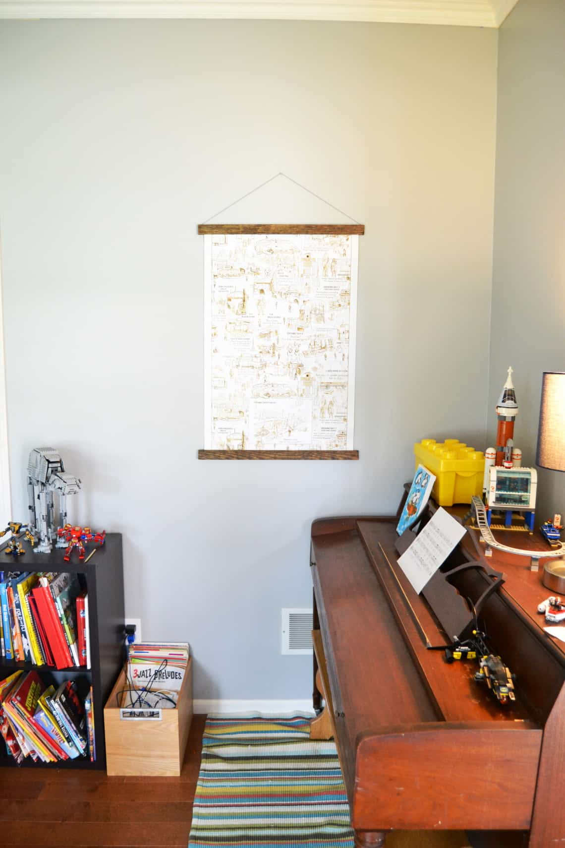 Make a DIY magnetic poster hanger by following this simple tutorial. This is a good way to display posters that you may change in the future.