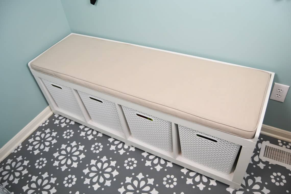 show storage bench in the modern mud room