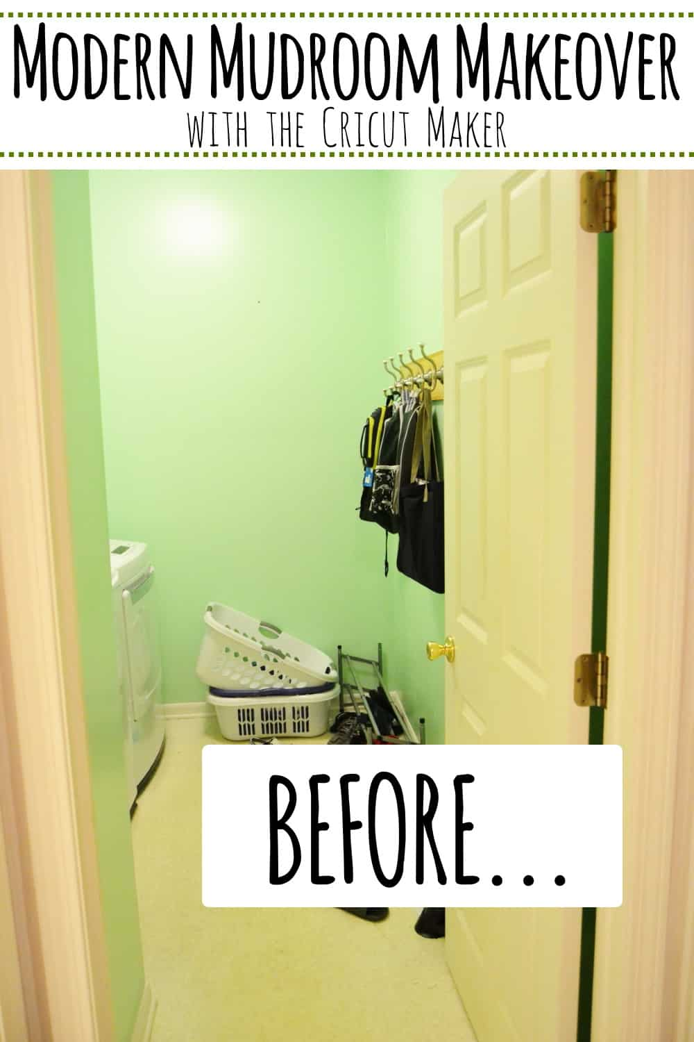 #AD With the help of my Cricut Maker I put together a modern mudroom space in the laundry room of my new house. #cricutmade